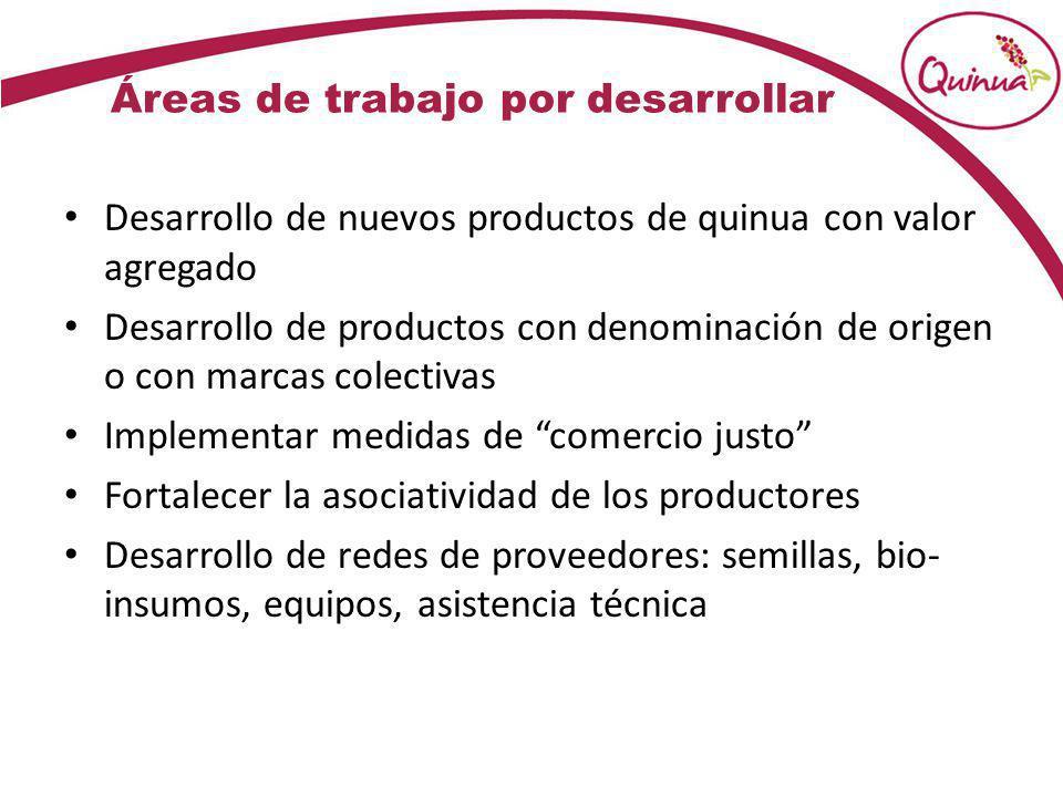 Áreas de trabajo por desarrollar Desarrollo de nuevos productos de quinua con valor agregado Desarrollo de productos con denominación de origen o con