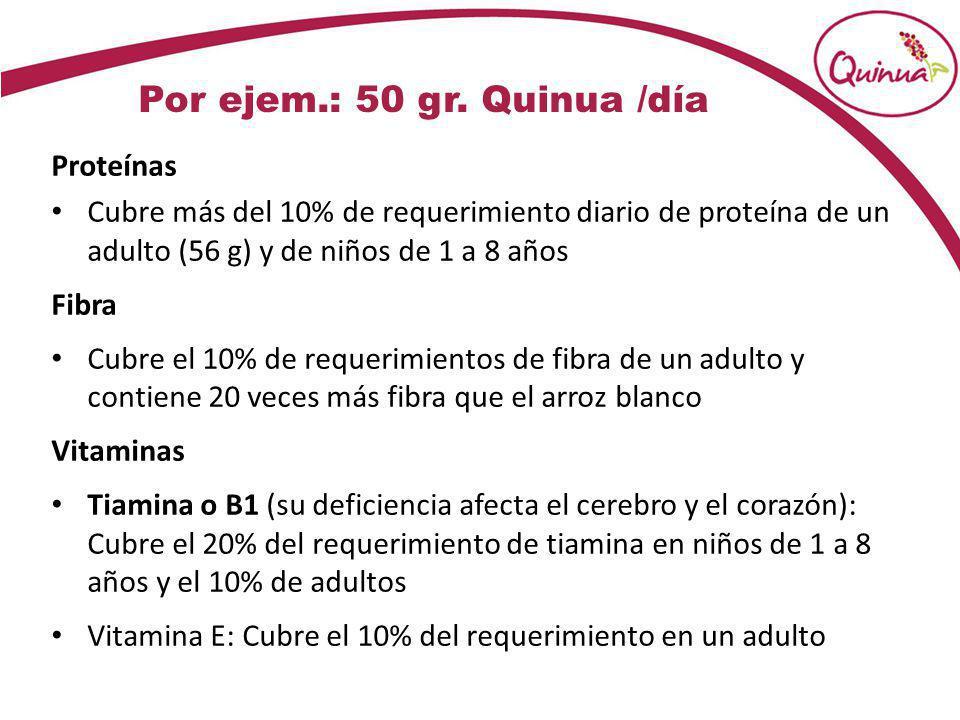 Por ejem.: 50 gr. Quinua /día Proteínas Cubre más del 10% de requerimiento diario de proteína de un adulto (56 g) y de niños de 1 a 8 años Fibra Cubre