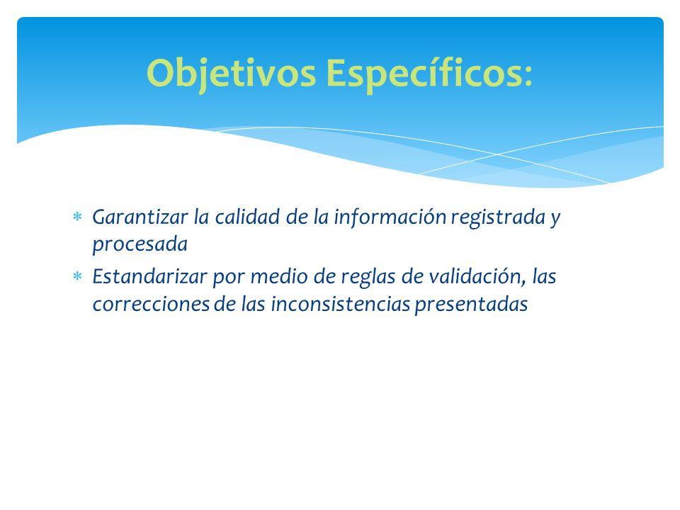 Garantizar la calidad de la información registrada y procesada Estandarizar por medio de reglas de validación, las correcciones de las inconsistencias