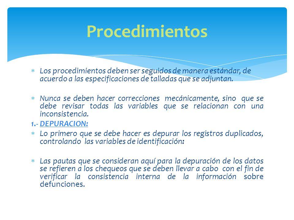 Los procedimientos deben ser seguidos de manera estándar, de acuerdo a las especificaciones de talladas que se adjuntan.