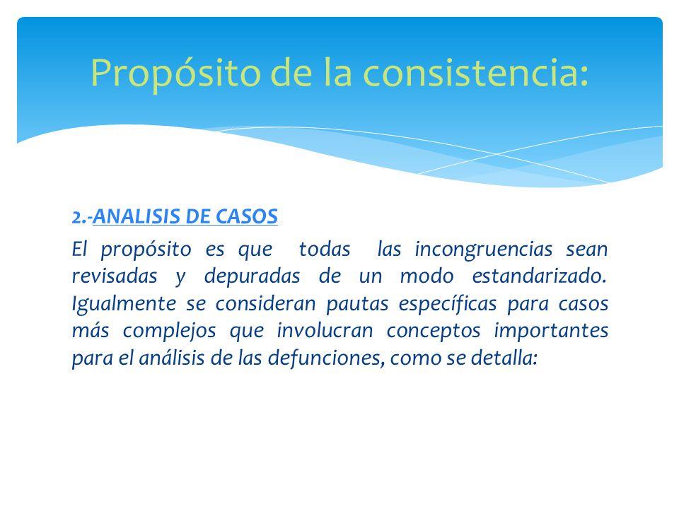 2.-ANALISIS DE CASOS El propósito es que todas las incongruencias sean revisadas y depuradas de un modo estandarizado.