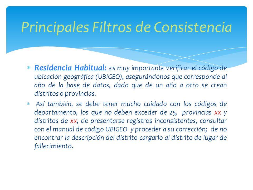 Residencia Habitual: es muy importante verificar el código de ubicación geográfica (UBIGEO), asegurándonos que corresponde al año de la base de datos, dado que de un año a otro se crean distritos o provincias.