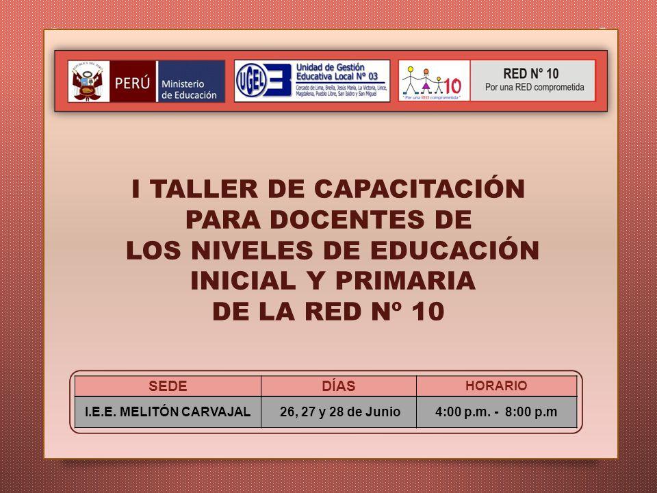 I TALLER DE CAPACITACIÓN PARA DOCENTES DE LOS NIVELES DE EDUCACIÓN INICIAL Y PRIMARIA DE LA RED Nº 10 I.E.E. MELITÓN CARVAJAL 26, 27 y 28 de Junio4:00