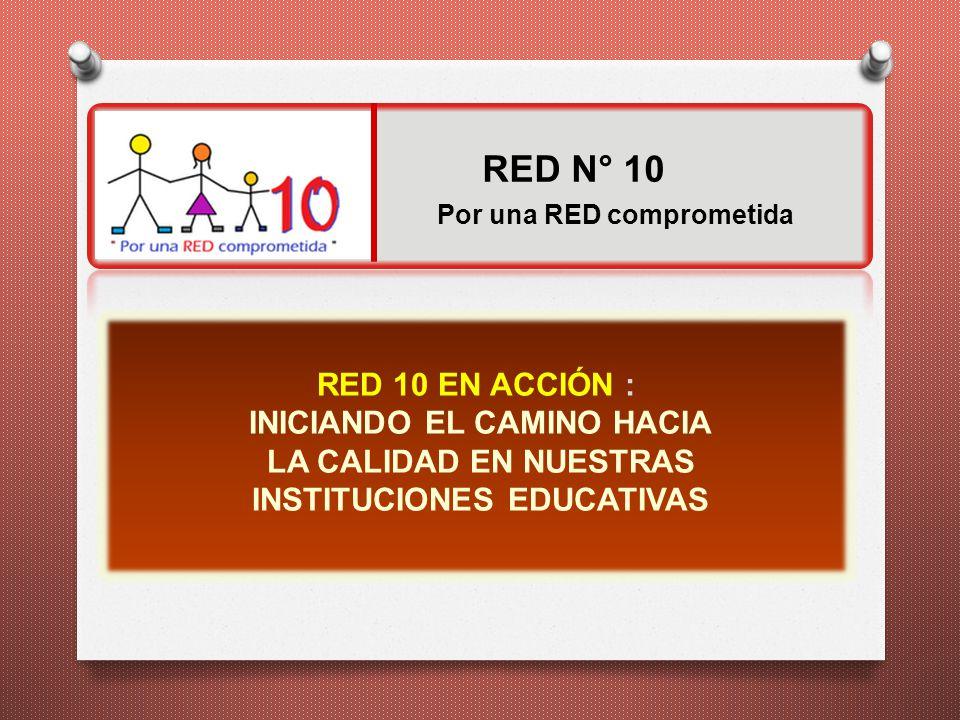 RED 10 EN ACCIÓN : INICIANDO EL CAMINO HACIA LA CALIDAD EN NUESTRAS INSTITUCIONES EDUCATIVAS Por una RED comprometida RED N° 10
