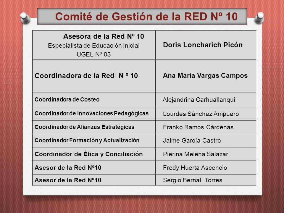 Comité de Gestión de la RED Nº 10 Asesora de la Red Nº 10 Especialista de Educación Inicial UGEL Nº 03 Doris Loncharich Picón Coordinadora de la Red N
