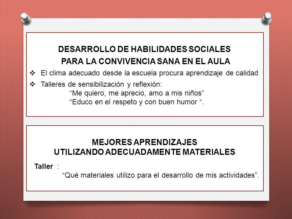 DESARROLLO DE HABILIDADES SOCIALES PARA LA CONVIVENCIA SANA EN EL AULA El clima adecuado desde la escuela procura aprendizaje de calidad Talleres de s