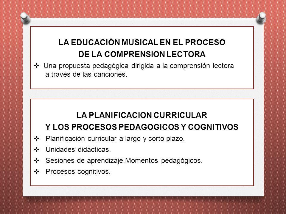 LA EDUCACIÓN MUSICAL EN EL PROCESO DE LA COMPRENSION LECTORA Una propuesta pedagógica dirigida a la comprensión lectora a través de las canciones. LA