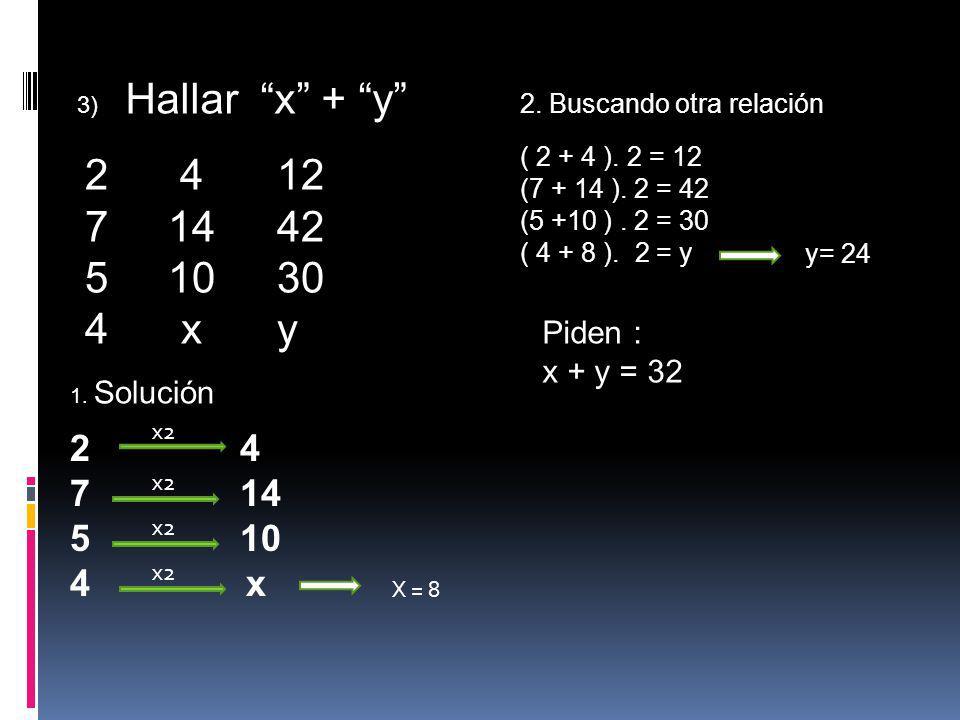 3) Hallar x + y 2 412 7 1442 5 1030 4xy 1. Solución 2 4 7 14 5 10 4 x x2 X = 8 2. Buscando otra relación ( 2 + 4 ). 2 = 12 (7 + 14 ). 2 = 42 (5 +10 ).