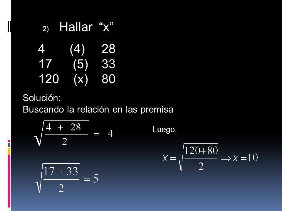 2) Hallar x 4 (4) 28 17 (5) 33 120 (x) 80 Solución: Buscando la relación en las premisa Luego: