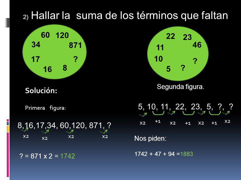 60 871 120 16 17 34 8 ? 22 46 23 5 10 11 ? ? 2) Hallar la suma de los términos que faltan Solución: Primera figura: 8,16,17,34, 60,120, 871, ? ? = 871