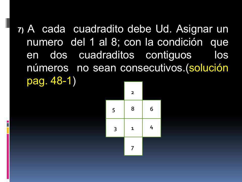 7) A cada cuadradito debe Ud. Asignar un numero del 1 al 8; con la condición que en dos cuadraditos contiguos los números no sean consecutivos.(soluci