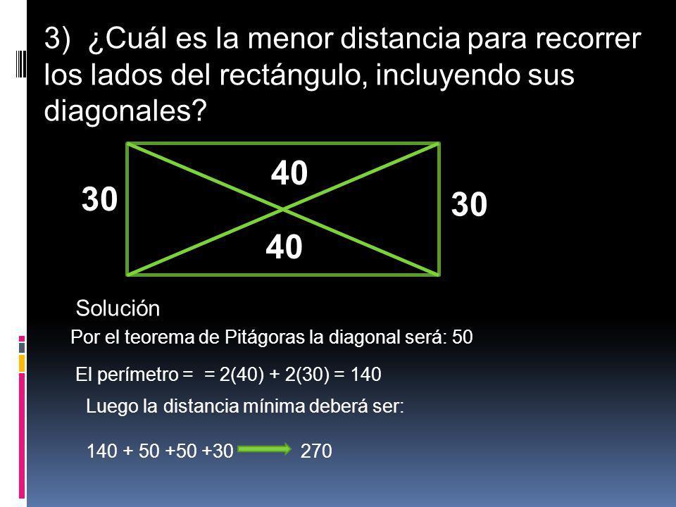 3) ¿Cuál es la menor distancia para recorrer los lados del rectángulo, incluyendo sus diagonales? 40 30 40 Solución Por el teorema de Pitágoras la dia
