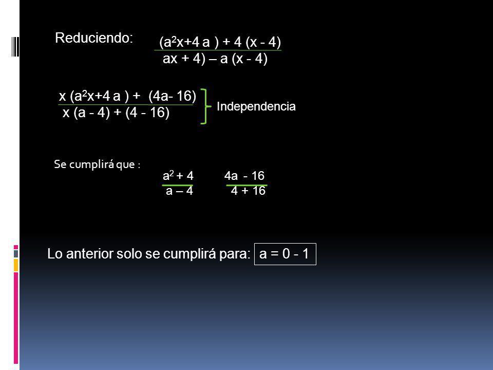Reduciendo: (a 2 x+4 a ) + 4 (x - 4) ax + 4) – a (x - 4) x (a 2 x+4 a ) + (4a- 16) x (a - 4) + (4 - 16) Independencia Se cumplirá que : a 2 + 4 a – 4