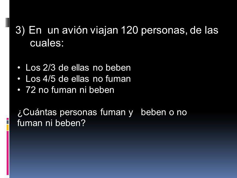 3)En un avión viajan 120 personas, de las cuales: Los 2/3 de ellas no beben Los 4/5 de ellas no fuman 72 no fuman ni beben ¿Cuántas personas fuman y b