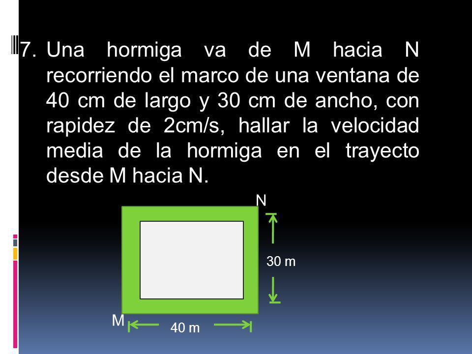 7.Una hormiga va de M hacia N recorriendo el marco de una ventana de 40 cm de largo y 30 cm de ancho, con rapidez de 2cm/s, hallar la velocidad media