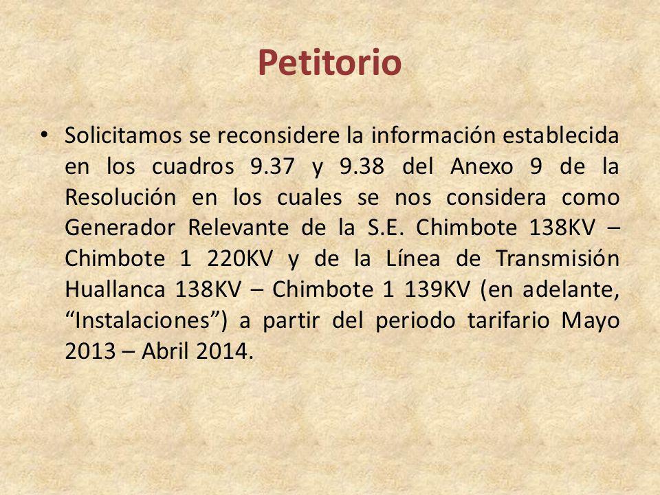 Petitorio Solicitamos se reconsidere la información establecida en los cuadros 9.37 y 9.38 del Anexo 9 de la Resolución en los cuales se nos considera como Generador Relevante de la S.E.