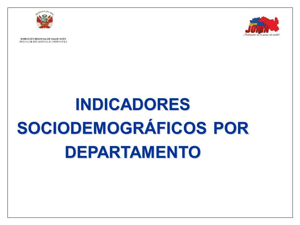 INDICADORES SOCIODEMOGRÁFICOS POR DEPARTAMENTO DIRECCIÓN REGIONAL DE SALUD JUNÍN OFICINA DE ESTADISTICA E INFORMATICA