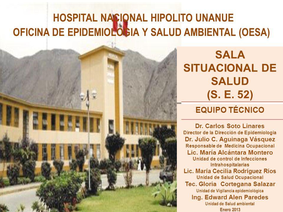HOSPITAL NACIONAL HIPOLITO UNANUE OFICINA DE EPIDEMIOLOGIA Y SALUD AMBIENTAL (OESA) SALA SITUACIONAL DE SALUD (S. E. 52) EQUIPO TÉCNICO Dr. Carlos Sot