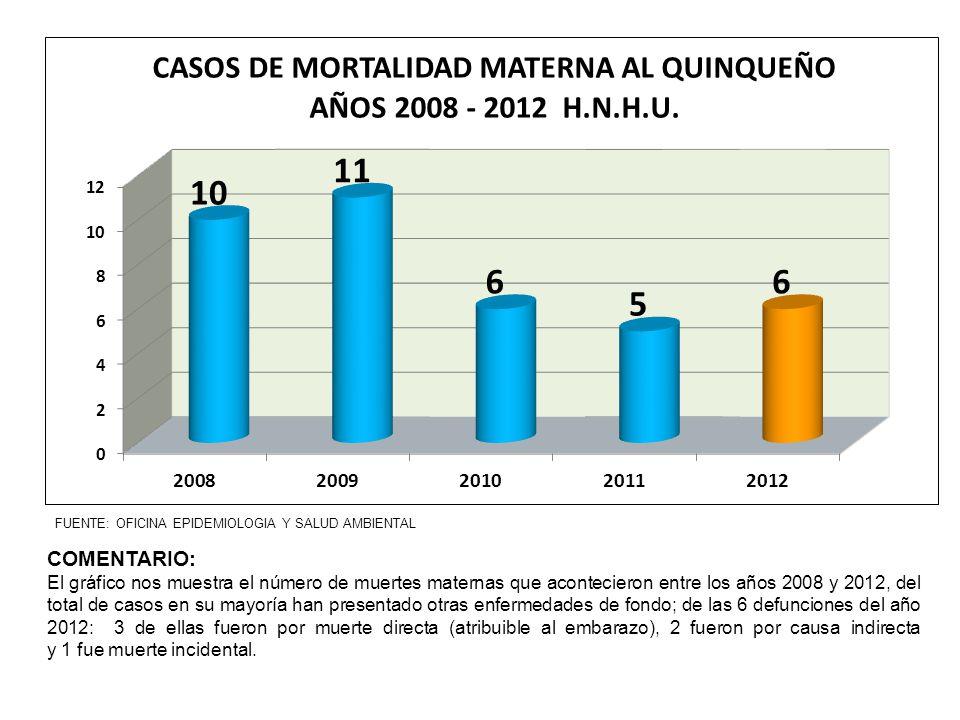FUENTE: OFICINA EPIDEMIOLOGIA Y SALUD AMBIENTAL COMENTARIO: El gráfico nos muestra el número de muertes maternas que acontecieron entre los años 2008