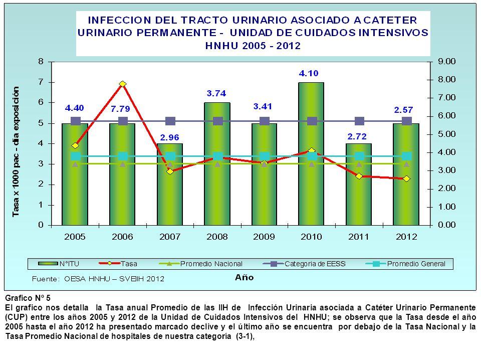 Grafico Nº 5 El grafico nos detalla la Tasa anual Promedio de las IIH de Infección Urinaria asociada a Catéter Urinario Permanente (CUP) entre los año