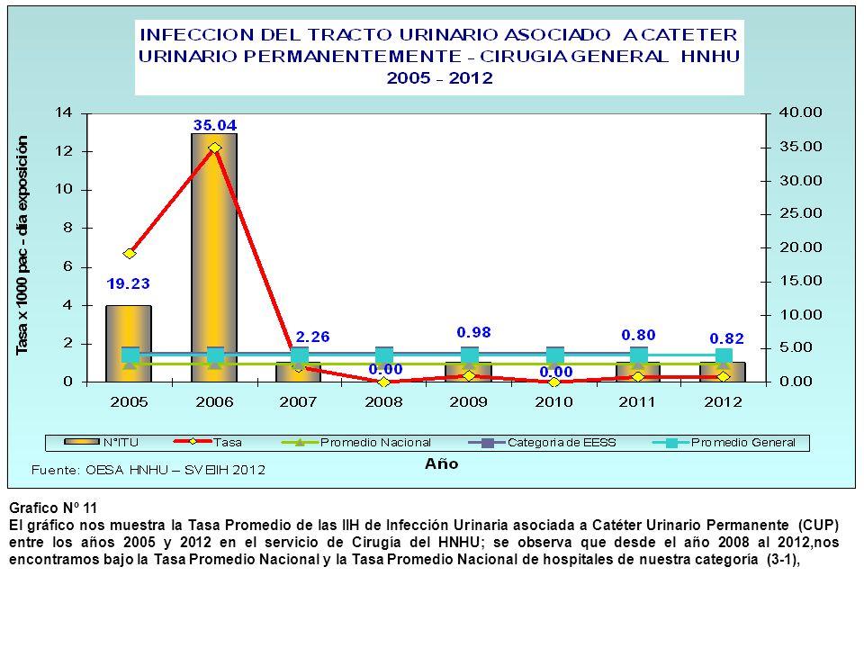 Grafico Nº 11 El gráfico nos muestra la Tasa Promedio de las IIH de Infección Urinaria asociada a Catéter Urinario Permanente (CUP) entre los años 200