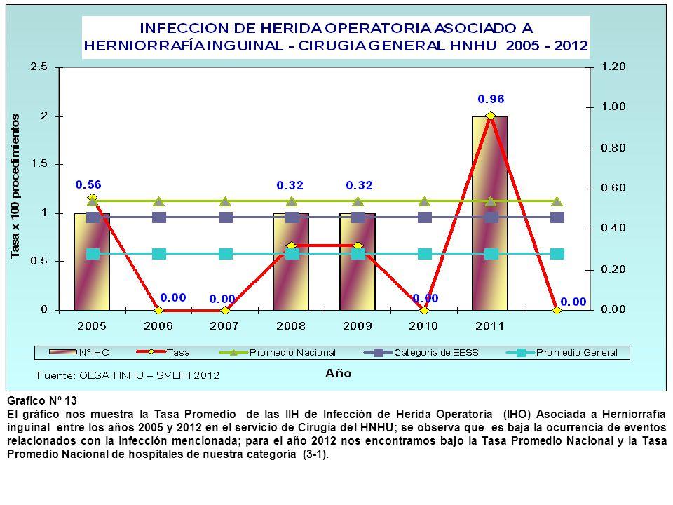 Grafico Nº 13 El gráfico nos muestra la Tasa Promedio de las IIH de Infección de Herida Operatoria (IHO) Asociada a Herniorrafía inguinal entre los añ