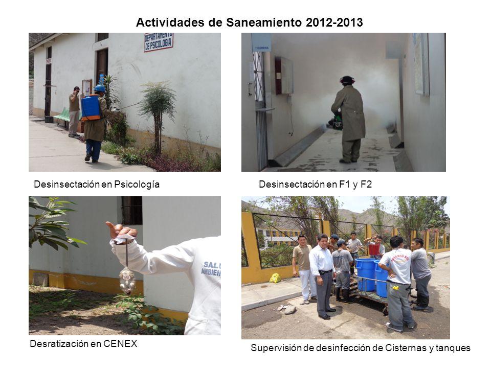 Actividades de Saneamiento 2012-2013 Desinsectación en PsicologíaDesinsectación en F1 y F2 Desratización en CENEX Supervisión de desinfección de Ciste