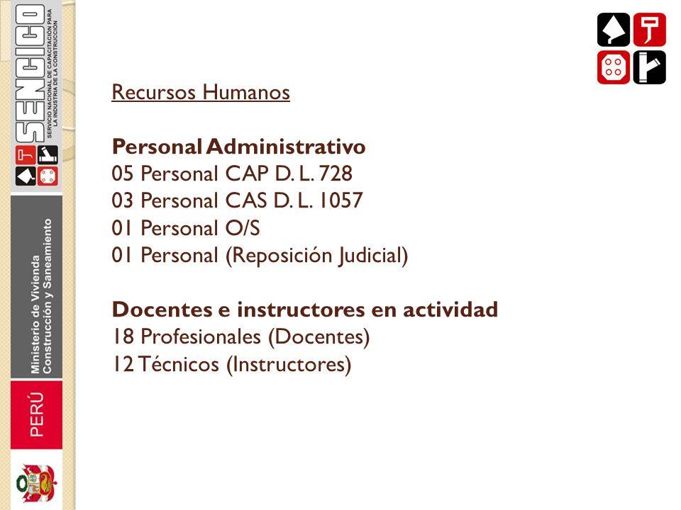 Recursos Humanos Personal Administrativo 05 Personal CAP D. L. 728 03 Personal CAS D. L. 1057 01 Personal O/S 01 Personal (Reposición Judicial) Docent