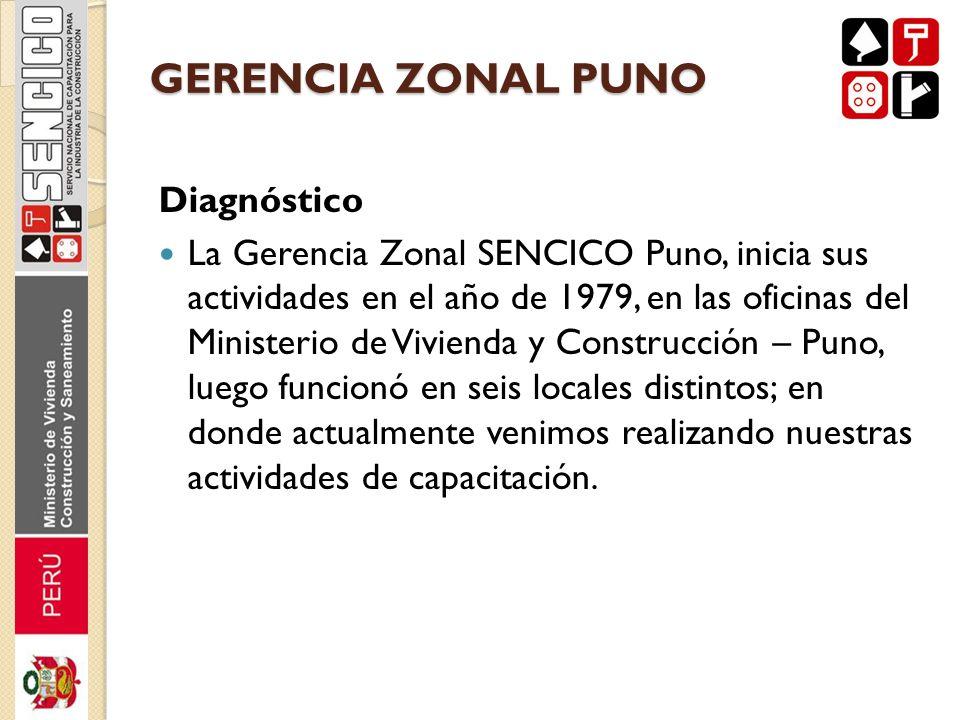 GERENCIA ZONAL PUNO Diagnóstico La Gerencia Zonal SENCICO Puno, inicia sus actividades en el año de 1979, en las oficinas del Ministerio de Vivienda y
