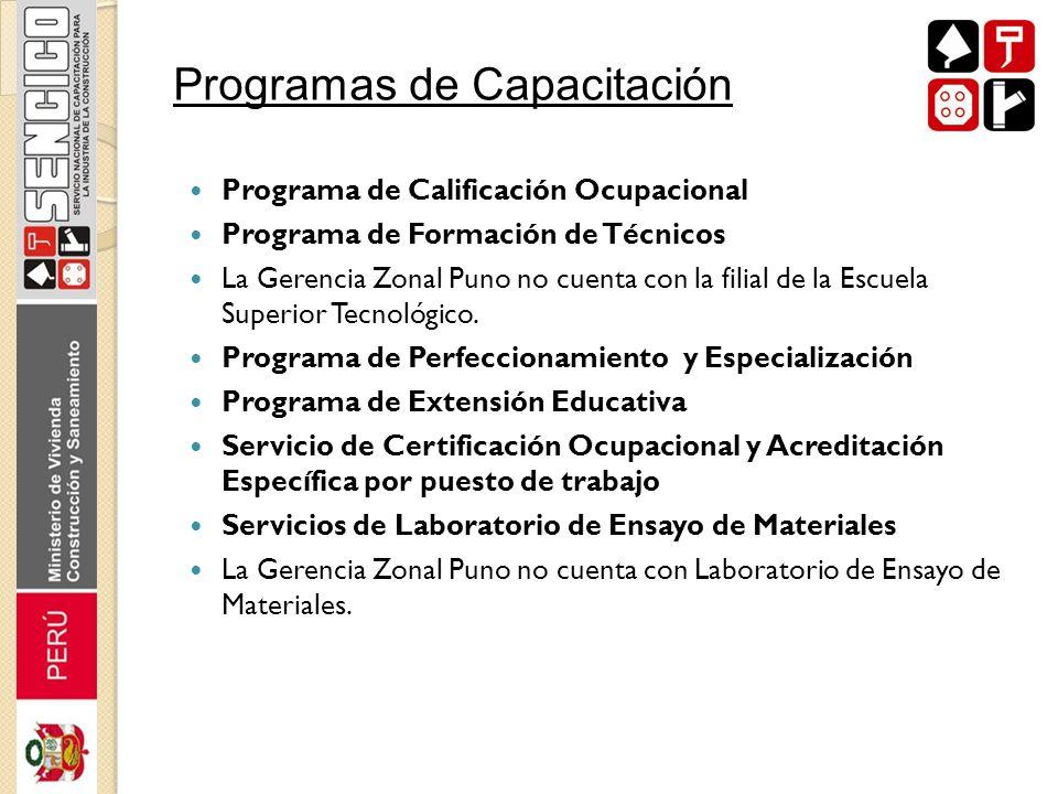 Programa de Calificación Ocupacional Programa de Formación de Técnicos La Gerencia Zonal Puno no cuenta con la filial de la Escuela Superior Tecnológi
