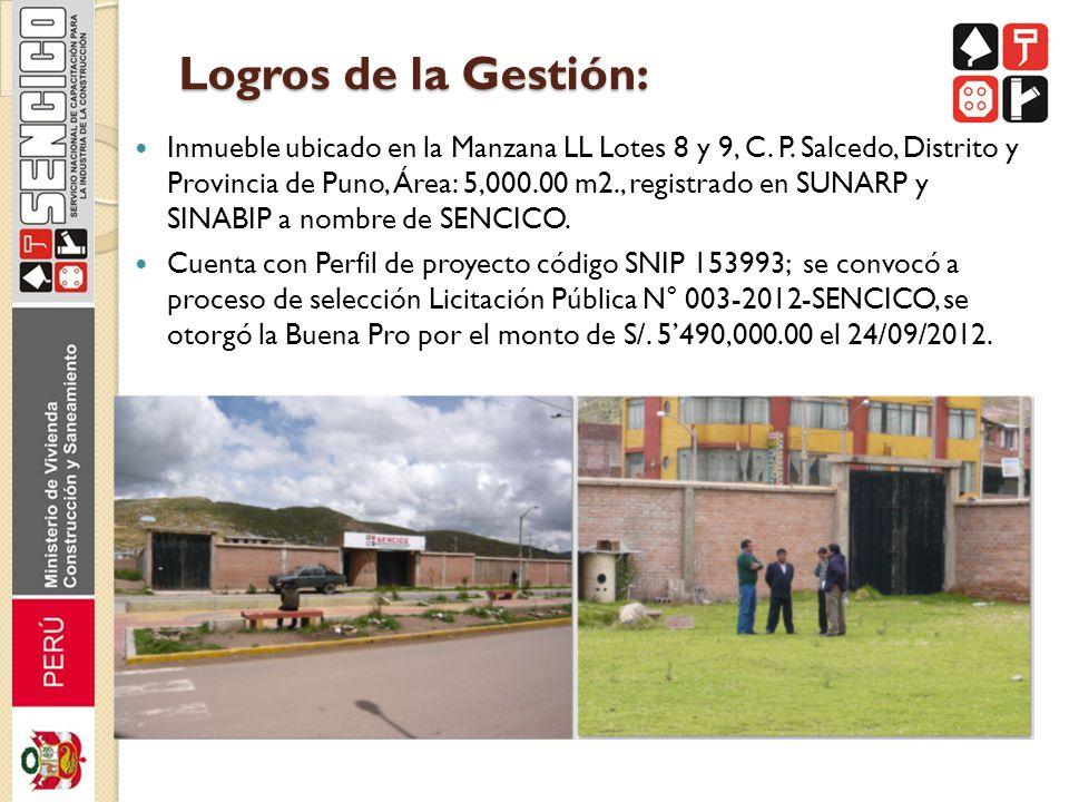 Logros de la Gestión: Inmueble ubicado en la Manzana LL Lotes 8 y 9, C. P. Salcedo, Distrito y Provincia de Puno, Área: 5,000.00 m2., registrado en SU