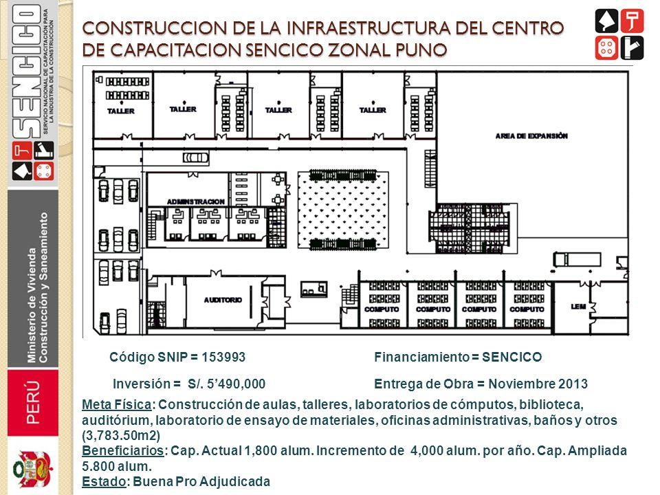 CONSTRUCCION DE LA INFRAESTRUCTURA DEL CENTRO DE CAPACITACION SENCICO ZONAL PUNO Código SNIP = 153993 Inversión = S/. 5490,000 Financiamiento = SENCIC