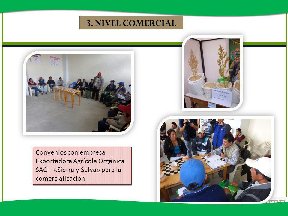 Convenios con empresa Exportadora Agrícola Orgánica SAC – «Sierra y Selva» para la comercialización 3. NIVEL COMERCIAL