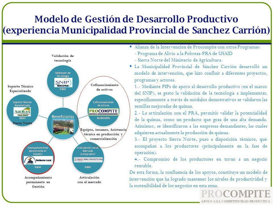 Modelo de Gestión de Desarrollo Productivo (experiencia Municipalidad Provincial de Sanchez Carrión) Alianza de la Intervención de Procompite con otro