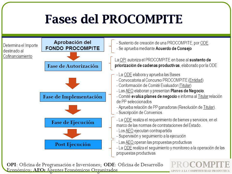 Aprobación del FONDO PROCOMPITE Fase de Autorización Fase de Implementación Fase de Ejecución Post Ejecución Determina el Importe destinado al Cofinan
