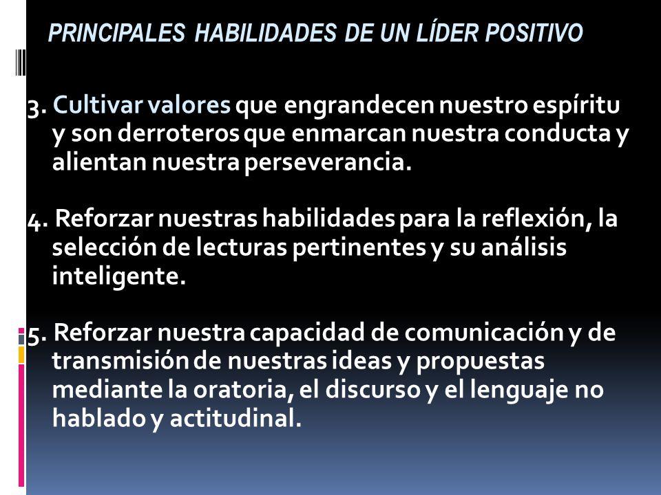 PRINCIPALES HABILIDADES DE UN LÍDER POSITIVO 1. Actitud positiva hacia nosotros mismos, fuerte y sana autoestima, sintiéndonos capaces de ser líderes.