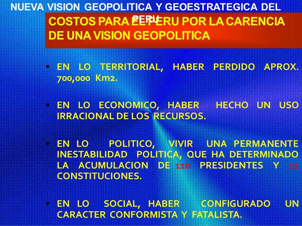 EL MUNDO VISTO DESDE EL PERÚ: NUEVA VISIÓN GEOESTRATÉGICA VALOR GEOPOLÍTICOUTILIDAD GEOESTRATÉGICA APROVECHAR LA UBICACIÓN DEL PERÚ EN EL MUNDO Y EL C