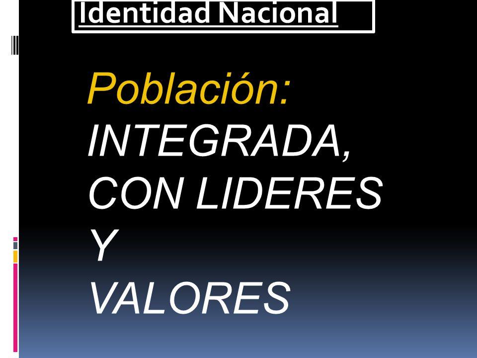 Identidad Nacional + + = PERU ORGULLO IDENTIDAD NACIONAL INSTITUCIONALIDAD HISTORIA POSITIVA NUEVA VISION GEO POLITICA Y GEO ESTRATEGICA + ELEMENTOS D
