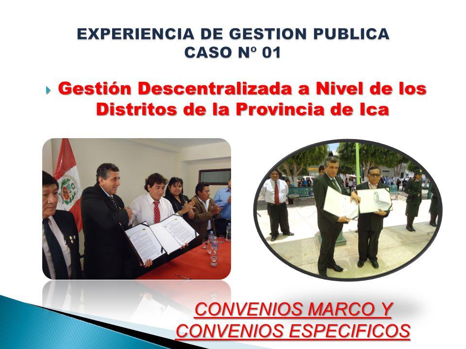 Gestión Descentralizada a Nivel de los Distritos de la Provincia de Ica Gestión Descentralizada a Nivel de los Distritos de la Provincia de Ica CONVENIOS MARCO Y CONVENIOS ESPECIFICOS