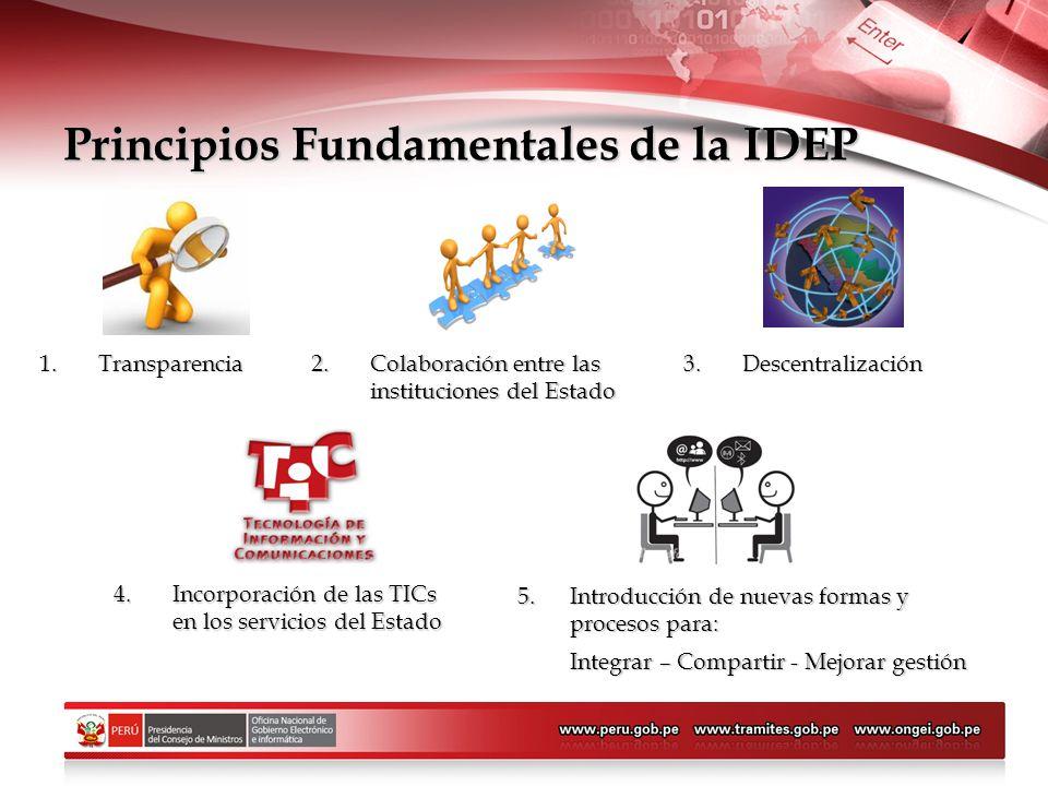 Principios Fundamentales de la IDEP 1.Transparencia 2.Colaboración entre las instituciones del Estado 3.Descentralización 4.Incorporación de las TICs