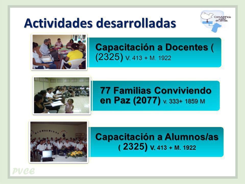 Actividades desarrolladas Capacitación a Docentes( ) V.