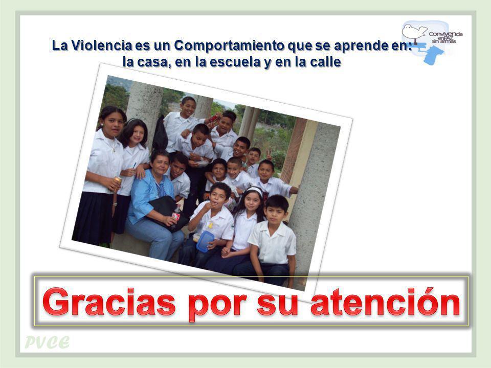 La Violencia es un Comportamiento que se aprende en: la casa, en la escuela y en la calle