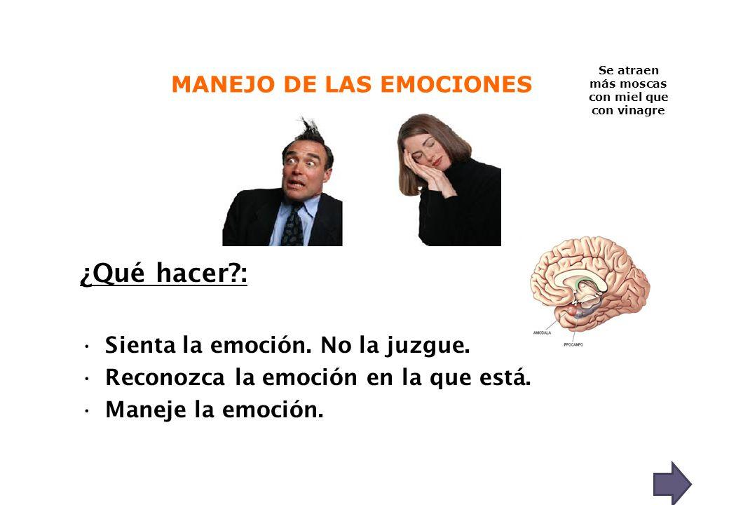 ¿Qué hacer?: Sienta la emoción. No la juzgue. Reconozca la emoción en la que está. Maneje la emoción. Se atraen más moscas con miel que con vinagre MA