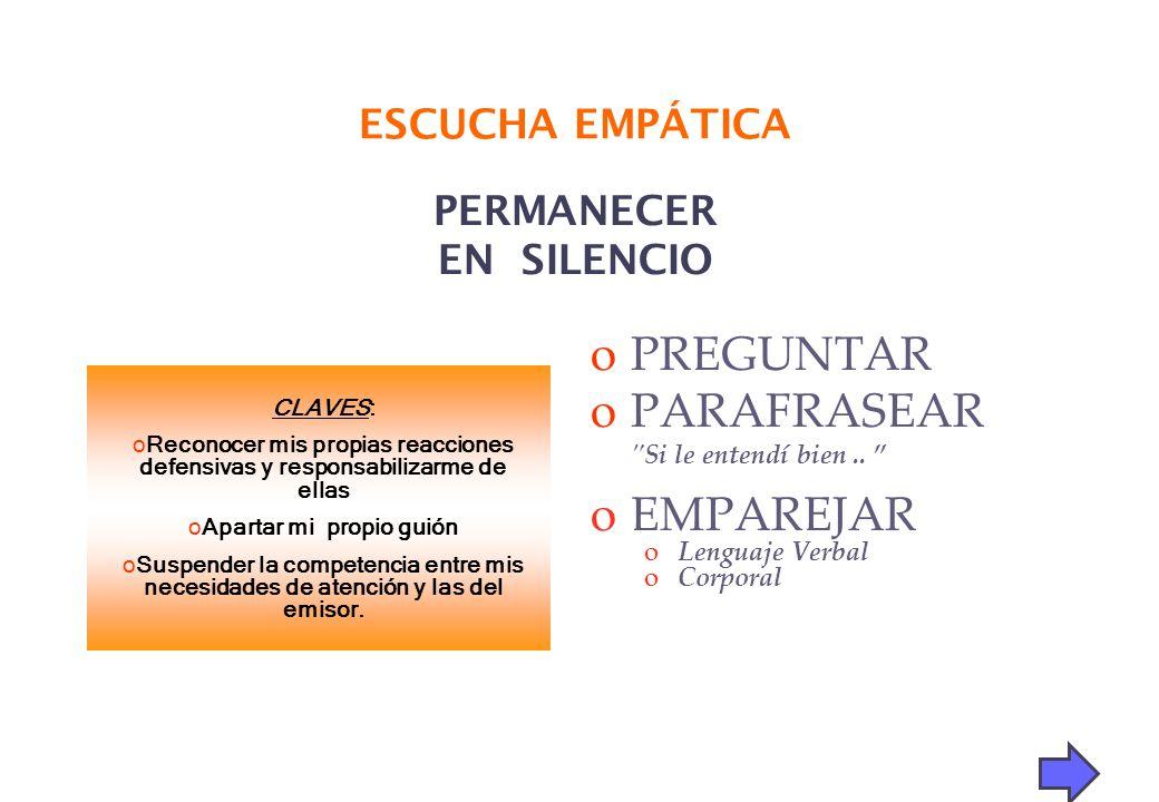 PERMANECER EN SILENCIO oPREGUNTAR oPARAFRASEAR