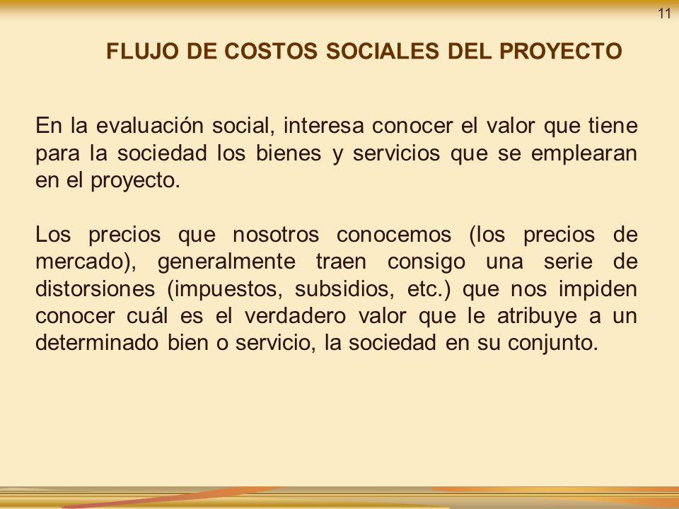 En la evaluación social, interesa conocer el valor que tiene para la sociedad los bienes y servicios que se emplearan en el proyecto.