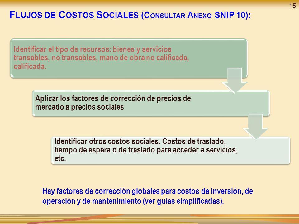 F LUJOS DE C OSTOS S OCIALES (C ONSULTAR A NEXO SNIP 10): Identificar el tipo de recursos: bienes y servicios transables, no transables, mano de obra no calificada, calificada.