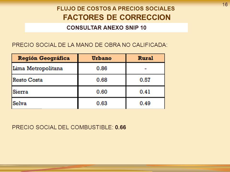 FLUJO DE COSTOS A PRECIOS SOCIALES FACTORES DE CORRECCION PRECIO SOCIAL DE LA MANO DE OBRA NO CALIFICADA: PRECIO SOCIAL DEL COMBUSTIBLE: 0.66 CONSULTAR ANEXO SNIP 10 16