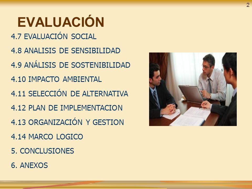 EVALUACIÓN 4.7 EVALUACIÓN SOCIAL 4.8 ANALISIS DE SENSIBILIDAD 4.9 ANÁLISIS DE SOSTENIBILIDAD 4.10 IMPACTO AMBIENTAL 4.11 SELECCIÓN DE ALTERNATIVA 4.12