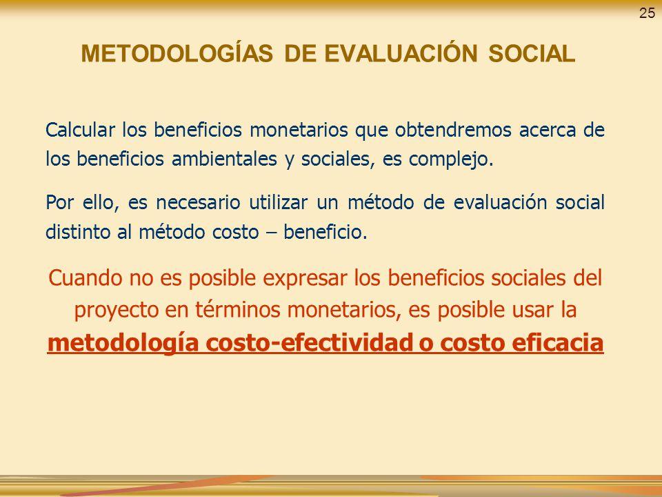 METODOLOGÍAS DE EVALUACIÓN SOCIAL Calcular los beneficios monetarios que obtendremos acerca de los beneficios ambientales y sociales, es complejo. Por