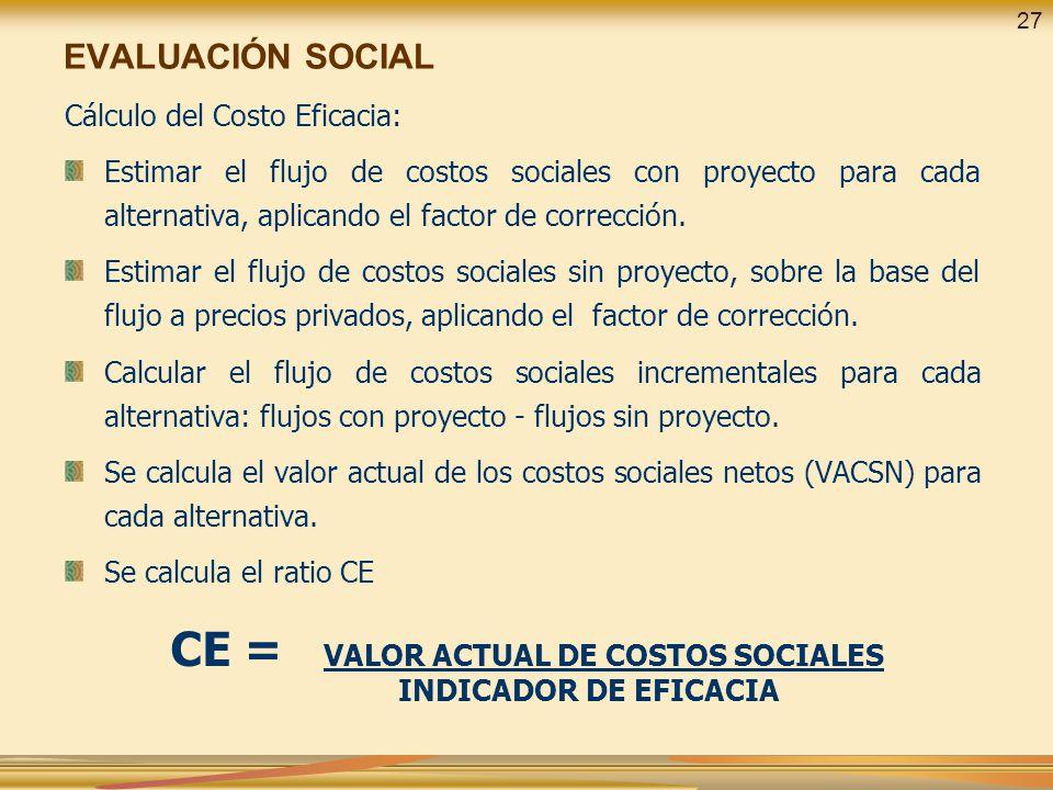 EVALUACIÓN SOCIAL Cálculo del Costo Eficacia: Estimar el flujo de costos sociales con proyecto para cada alternativa, aplicando el factor de correcció